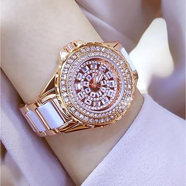 povoljno Ženski satovi-Žene dame Luxury Watches Narukvica Pogledajte Ručni satovi s mehanizmom za navijanje Kvarc Nehrđajući čelik Keramika Bijela / Zlatna 30 m Vodootpornost Kreativan imitacija Diamond Analog Šarm Luksuz