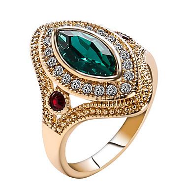 levne Dámské šperky-Dámské Vyzvánění Prsten prstenec Křišťál Červená Zelená Pryskyřice Štras Chrome Prohlášení dámy Přizpůsobeno Vánoce Vánoční dárky Šperky Solitaire Marquise Řemeslník Nálada