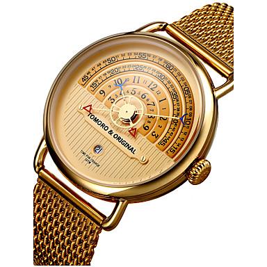 levne Pánské-Pánské Náramkové hodinky zlaté hodinky japonština Nerez Černá / Hnědá / Zlatá 30 m Voděodolné Kalendář kreativita Analogové Přívěšky Luxus Klasické Vintage Na běžné nošení - Černá / Bílá Čern