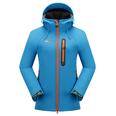 Cikrilan Women's Hiking Softshell Jacket Outdoor Fall / Winter Windproof, Waterproof, Thermal / Warm Fleece Jacket / Top Camping / Hiking, Hunting, Fishing Sky Blue Green Violet / Breathable