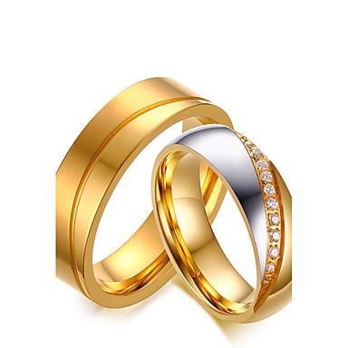 levne Pro muže-Pro páry Snubní prsteny Kubický zirkon Zlatá Zirkon Titanová ocel Kulatý Vintage minimalistický styl Elegantní Svatební Výročí Šperky / Zásnuby