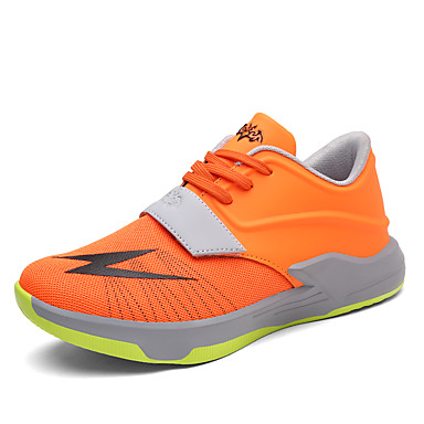 Men's Shoes Leatherette Tulle Fall Winter Comfort Athletic Shoes Basketball Shoes Lace-up Athletic White Black Orange Red Blue