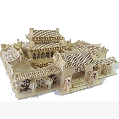 levne 3D puzzle-3D puzzle Modele Dřevěný model Slavné stavby Dům Chrám Shaolin Udělej si sám Dřevěný Přírodní dřevo Dětské Unisex Hračky Dárek