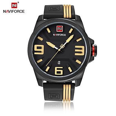 levne Pánské-NAVIFORCE Pánské Náramkové hodinky japonština Křemenný 30 m Voděodolné Kalendář Cool Silikon Kapela Analogové Na běžné nošení Módní Černá - Žlutá Červená Bílá /  žlutá Dva roky Životnost baterie