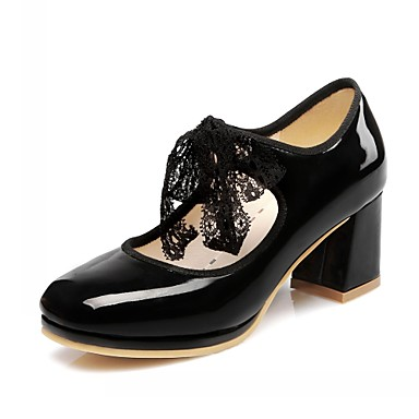 Mujer Zapatos PU Otoño invierno Confort Oxfords Tacón Cuadrado Dedo cuadrada Negro / Beige / Amarillo kDecvBtH