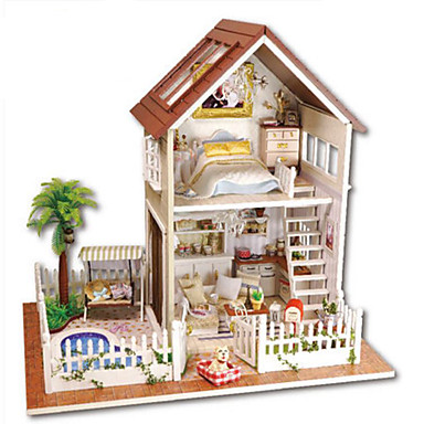 voordelige 3D-puzzels-Houten puzzels Modelbouwsets Houten modellen Handgemaakt DHZ Huis Villa Kunststoffen Kinderen Volwassenen Unisex Jongens Meisjes Speeltjes Geschenk