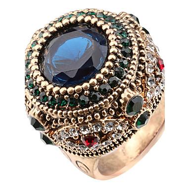 billige Motering-Dame Statement Ring Ring Krystall Utvalgte Farger Harpiks Strass Chrome Statement damer Personalisert Jul Julegaver Smykker Solitaire Rund Artisan