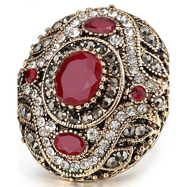 billige Motering-Dame Statement Ring Ring tommelfingerring Krystall Rød Grønn Harpiks Strass Chrome Statement damer Personalisert Jul Julegaver Smykker Oval HALO Artisan