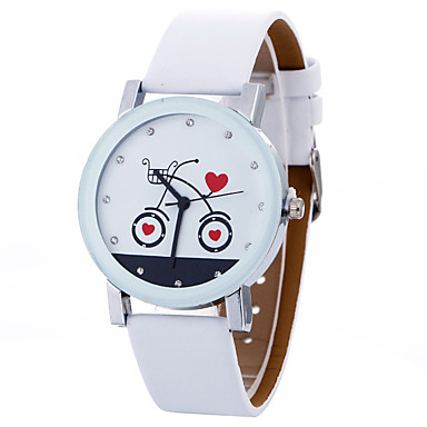 levne Dámské-Dámské Hodinky na běžné nošení Sportovní hodinky Módní hodinky Křemenný Kůže Černá / Bílá kreativita Cool Analogové Přívěšky Luxus Na běžné nošení Elegantní - Bílá Černá