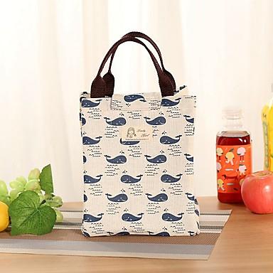 preiswerte Wasserdichte Taschen-Unisex Print Segeltuch Lunchpaket Leinentasche Grün / Rosa / Beige