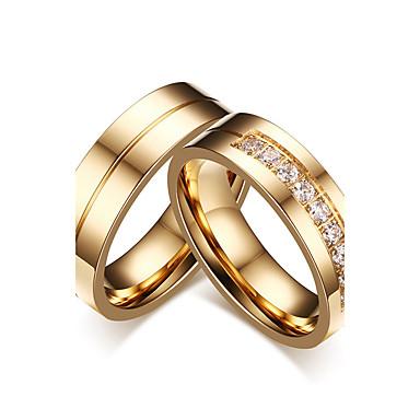 voordelige Herensieraden-Voor Stel Ringen voor stelletjes Zirkonia Goud Kubieke Zirkonia Titanium Staal Cirkelvorm Klassiek Eenvoudige Stijl Elegant Bruiloft Feest / Avond Sieraden / Verloving