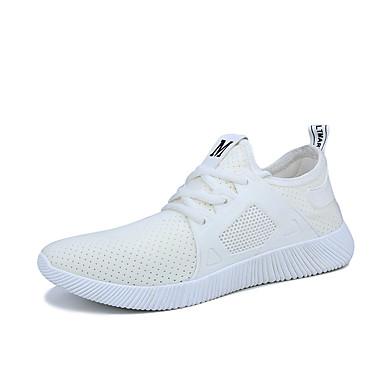 Hombre Zapatos Tejido Verano Confort / Suelas con luz Zapatillas de deporte Blanco / Negro euABoIR6