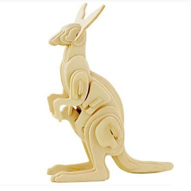 voordelige 3D-puzzels-3D-puzzels Legpuzzel Modelbouwsets Kangoeroe Dieren DHZ Puinen Natuurlijk Hout Kinderen Volwassenen Unisex Speeltjes Geschenk