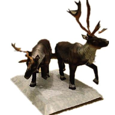 levne 3D puzzle-3D puzzle Papírové modely Modele Elk Jelen Zvířata Udělej si sám Simulace lepenkový papír Klasické Dětské Unisex Hračky Dárek