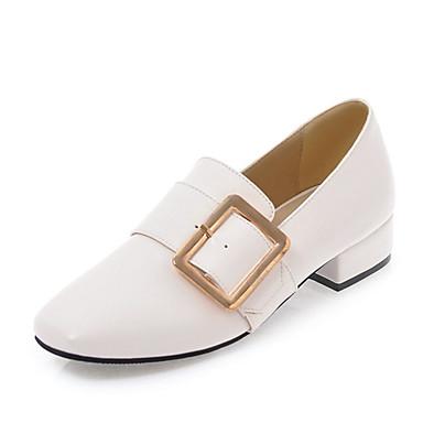 Mujer Zapatos Cuero de Napa Primavera verano Confort Zapatos de taco bajo y Slip-On Talón de bloque Blanco / Negro pPmCbv0JS