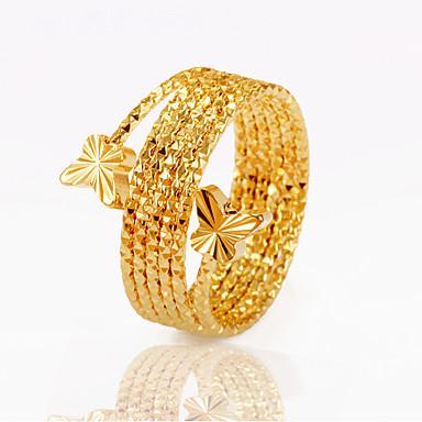 levne Pánské šperky-Pánské Vyzvánění Prsten Zlatá Měď Pozlacené Circle Shape Prohlášení dámy Neobvyklé Vánoční dárky Svatební Šperky Motýlek