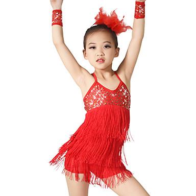 Λάτιν Χοροί Σύνολα Γυναικεία Επίδοση Ελαστικό Ελαστίνη Με πούλιες Λίκρα Παγιέτες Φούντα Αμάνικο Φυσικό Φόρεμα Βραχιόλι Καλύμματα Κεφαλής
