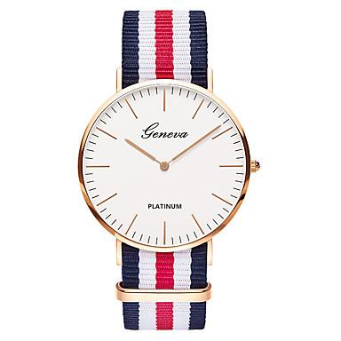preiswerte Luxusuhren-Geneva Herrn Uhr Armbanduhr Quartz Nylon Schwarz / Braun Analog damas Luxus Retro Freizeit Modisch Grün Rosa Weiß / Rot / Ein Jahr / SSUO 377