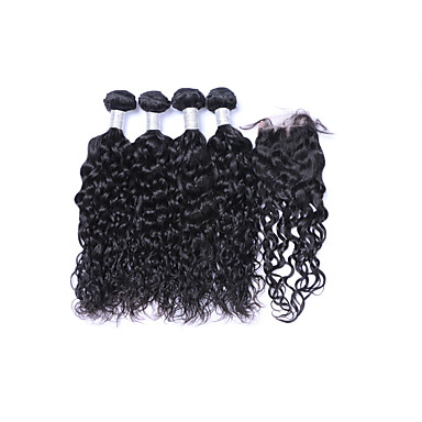 povoljno Ekstenzije od ljudske kose-4 paketi s zatvaranjem Brazilska kosa Prirodne kovrče Ljudska kosa Ljudske kose plete Isprepliće ljudske kose Proširenja ljudske kose / 8A