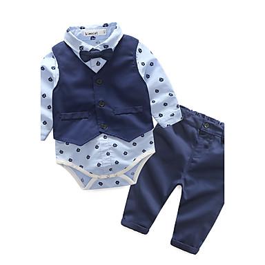 preiswerte Süße Herbstzeit-Baby Jungen Zum Kleid Geometrisch Langarm Lang Baumwolle Kleidungs Set Blau