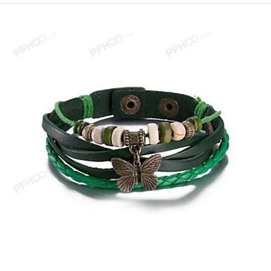 levne Pánské šperky-Pánské Dámské Kožené náramky Motýlek dámy Vintage Kožené Náramek šperky Zelená Bowknot Shape Pro Na den