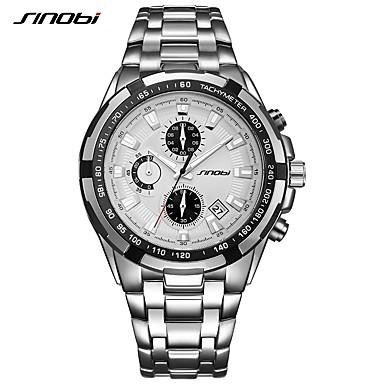 levne Pánské-SINOBI Pánské Náramkové hodinky japonština Křemenný Kov Stříbro 30 m Kalendář Chronograf Odolný vůči nárazu Analogové Luxus Na běžné nošení Módní - Modrobílá Hnědočerná Černá / Bílá / Svítící