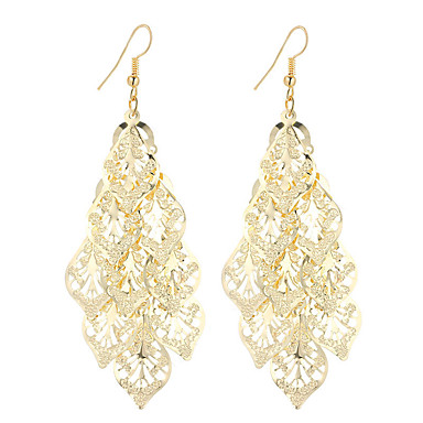 cheap Jewelry & Watches-Women's Drop Earrings Hollow Out filigree Leaf Ladies Dangling Vintage Bohemian Simple Style Fashion Silver Plated Gold Plated Earrings Jewelry Gold / Silver For Christmas Gifts Wedding Party Special