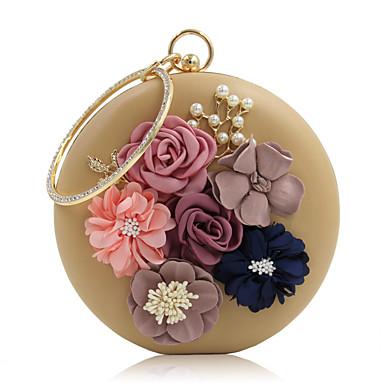 저렴한 가방-여성용 크리스탈 / 비즈 / 꽃잎 PU 이브닝 백 라인 석 크리스탈 저녁 가방 블랙 / 화이트 / 블러슁 핑크 / 웨딩 가방 / 웨딩 가방