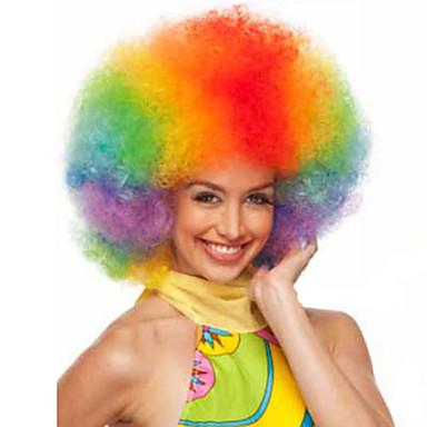 billige Kostymeparykk-Syntetiske parykker Krøllet Afro Stil Parykk Blond Kort Linbleke Syntetisk hår Dame Rød Blond Parykk StrongBeauty