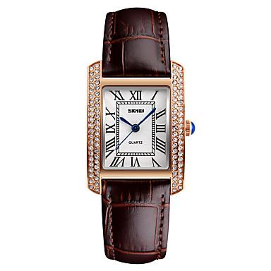 preiswerte Quadratische und Rechteckige Uhren-Damen Uhr Luxus-Armbanduhren Armbanduhr Diamond Watch Japanisch Quartz Leder Schwarz / Weiß / Rot 30 m Wasserdicht Cool Analog damas Modisch Schwarz Braun Rot / Zwei jahr / Zwei jahr / Maxell626