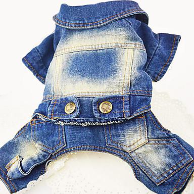 Dog Denim Jacket / Jeans Jacket Dog Clothes Jeans Dark Blue Blue Denim Costume For Spring & Fall Men's Women's Cowboy Casual / Daily