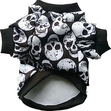 cheap Dog Clothes-Dog Halloween Costumes Costume Skull Cosplay Halloween Winter Dog Clothes Rainbow White Black Costume Cotton XXS XS S M L XL
