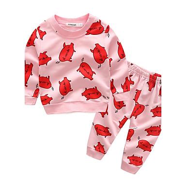 povoljno Odjeća za bebe-Dijete Djevojčice Crtići Pamuk / Praznik / Izlasci Životinja / Crtani film Dugih rukava Regularna Normalne dužine Komplet odjeće Blushing Pink / Ležerno / za svaki dan
