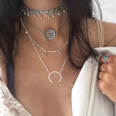 povoljno Modne ogrlice-Žene slojeviti Ogrlice Geometrijski Posude Cvijet Polumjesec dvostruka truba dame Bikini Moda Euramerican Legura Pink Ogrlice Jewelry Za Party