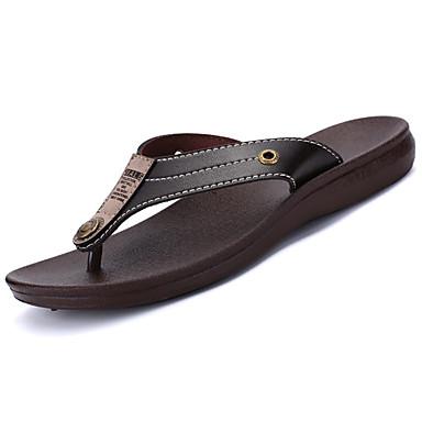 Hombre Zapatos Cuero / Microfibra Verano Confort Zapatillas y flip-flops Negro / Marrón YZlllc2sqT