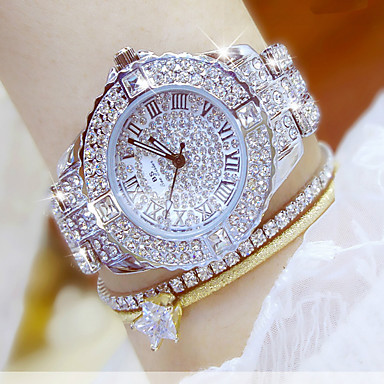 cheap Women's Watches-Women's Luxury Watch Wrist Watch Diamond Watch Stainless Steel Silver / Gold Water Resistant / Waterproof Chronograph Creative Analog Ladies Simulated Diamond Watch Elegant Bling Bling - Golden Watch