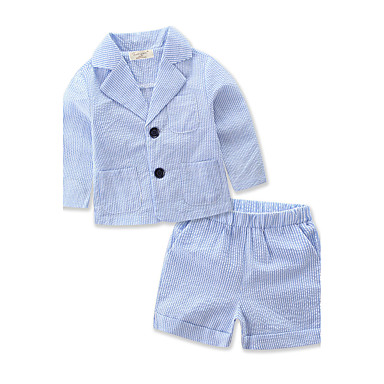 povoljno Odjeća za dječake-Dječaci Na prugice Prugasti uzorak Dungi Dugih rukava Regularna Normalne dužine Pamuk Komplet odjeće Plava