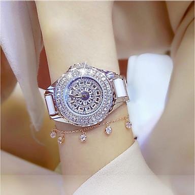 cheap Women's Luxury Watches-Women's Ladies Luxury Watches Bracelet Watch Wrist Watch Quartz Stainless Steel Ceramic White / Gold 30 m Water Resistant / Waterproof Creative Imitation Diamond Analog Charm Luxury Sparkle Dot Casual