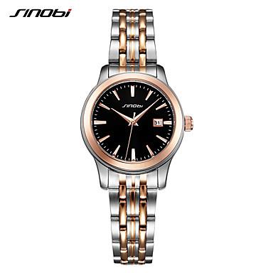 levne Pánské-SINOBI Dámské Luxusní hodinky Náramkové hodinky japonština Křemenný Nerez Stříbro 30 m Odolný vůči nárazu Analogové dámy Luxus Na běžné nošení Módní - Zlato / stříbro / černá Dva roky Životnost