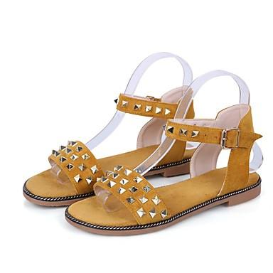 Mujer Zapatos PU Primavera verano Talón Descubierto Sandalias Tacón Plano Negro / Beige 2FVz7W