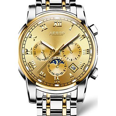 levne Pánské-Pánské Módní hodinky mechanické hodinky Automatické natahování Stříbro / Zlatá / Vícebarevný 30 m Voděodolné Analogové Bílá Tmavomodrá Šedá