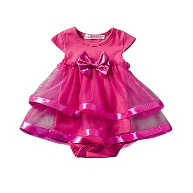povoljno Odjeća za bebe-Dijete Djevojčice Cvijetan Jedna barva Kratkih rukava bodysuit Blushing Pink