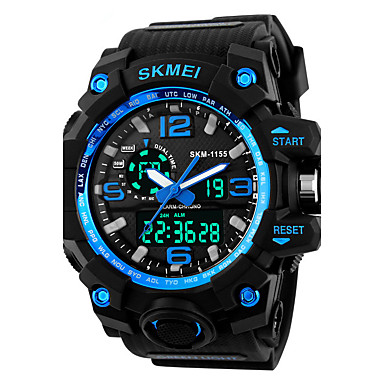 cheap Sport Watches-SKMEI Men's Sport Watch / Fashion Watch / Military Watch Japanese Alarm / Calendar / date / day / Chronograph PU Band Black / Water Resistant / Water Proof / LED / Dual Time Zones / Stopwatch