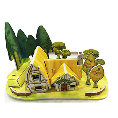 levne 3D puzzle-3D puzzle Puzzle Modele Slavné stavby Dům Udělej si sám lepenkový papír Klasické Anime Animák Dětské Unisex Hračky Dárek