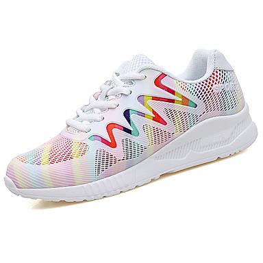 Mujer Zapatos Malla / PU Otoño Confort Zapatillas de Atletismo Paseo Tacón Plano Dedo redondo Blanco / Negro x1yxYpyV