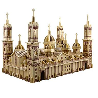 levne 3D puzzle-3D puzzle Puzzle Modele Kostel Katedrála Plaza del Pilar Udělej si sám Simulace Dřevěný Klasické Dětské Dospělé Unisex Chlapecké Dívčí Hračky Dárek / Dřevěný model