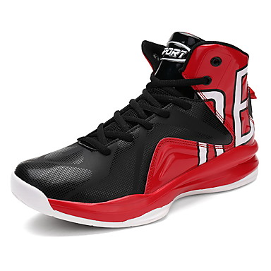 Men's Shoes Leather Winter Fall Comfort Athletic Shoes Basketball Shoes Lace-up Athletic Casual Outdoor Black Red Black/Red