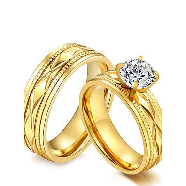 voordelige Herensieraden-Voor Stel Ringen voor stelletjes Zirkonia Goud Kubieke Zirkonia Titanium Staal Rond Vintage Modieus Elegant Bruiloft Feest Sieraden / Vuosipäivä / Verloving
