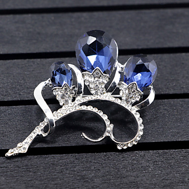 cheap Floral Jewelry-Women's Synthetic Diamond Brooches Flower 3 stone Flower Animal Ladies Brooch Jewelry Dark Blue For Wedding Party Special Occasion Party Evening Party / Evening Event / Party