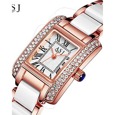 levne Pánské-ASJ Dámské Luxusní hodinky Náramkové hodinky Diamond Watch japonština Křemenný Keramika Stříbro / Růžové zlato 30 m Voděodolné kreativita Analogové dámy Třpyt - Stříbrná Růžové zlato Jeden rok